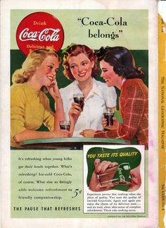 Coca Cola Belongs Vintage Coke Ad 1941 Original by ArtPhotoGirl, $9.00