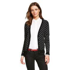 Merona Women's Favorite Ebony & White Printed Cardigan Sweater (Medium)