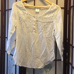 NWT cotton beaded long sleeve top Cool cotton top with tags. It's sitting in my closet with tags. A lovely breezy top with crystal buttons LaRok Tops Blouses