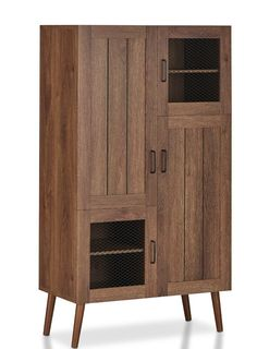Rustic Storage Cabinets, Shoe Storage Cabinet, Types Of Cabinets, Cabinets For Sale, Green Hallway Furniture, Cabinet Furniture, Mid Century Legs, Hidden Shelf, America Furniture