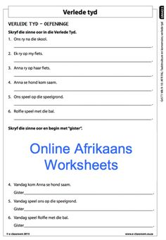 Grade 5 Online Afrikaans Worksheets, Verlede Tyd. For more worksheets visit www.e-classroom.co.za!