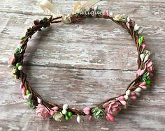Blush and cream flower crown, flower crown, flower girl crown, bridal flower crown, bohenian flower crown, flower headband, wedding crown