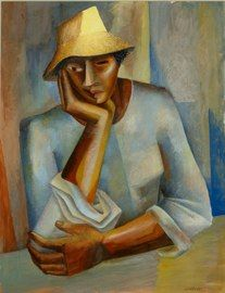 """ELIZABETH CATLETT  Untitled (Woman in Yellow Hat)  1943, Tempura on Paper, 22 3/8"""" x 17 7/8"""""""