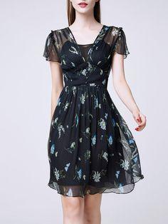 Shop Midi Dresses - Black V Neck Short Sleeve Mesh A-line Midi Dress online…