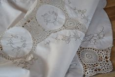 Antique Vintage Tablecloth Light Beige Hand Crocheted Lace Ivory Linen Hand Woven Handmade Romantic Rustic Home Decor Banquet
