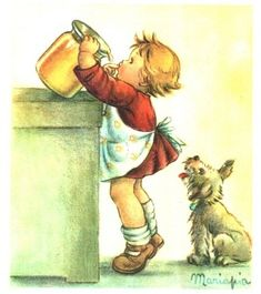 Illustration of Maria Pia Franzoni Tomba Vintage Greeting Cards, Vintage Postcards, Vintage Girls, Vintage Children, Vintage Pictures, Vintage Images, Photo D Art, Vintage Drawing, Cute Illustration