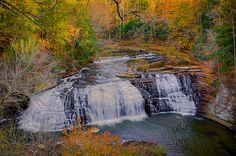 Falls of Autum Second falls seen on the way down to the big falls at Burgess State Park Burgess Falls, Autumn Scenery, Way Down, State Parks, Exploring, Waterfall, To Go, Hiking, Spaces