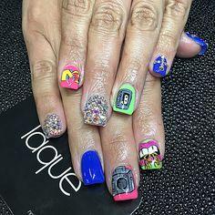 mtv theme Laque, laquenailbar Laque Nail Bar, 80s Theme, Nail Art Designs, Class Ring, Mtv, Nails, Instagram Posts, Painting, Finger Nails