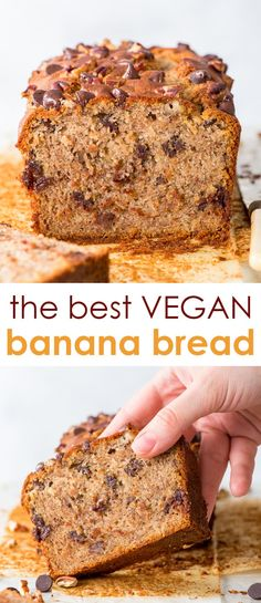The Best Vegan Banana Bread - The perfect vegan banana bread, with no egg replacements. With perfectly caramelised edges, a soft, moist interior, and chock full of chocolate chips and toasted pecans – Vegan Baking Recipes, Easy Bread Recipes, Vegan Dessert Recipes, Banana Bread Recipes, Vegetarian Sweets, Best Vegan Desserts, Dairy Free Baking, Sweets Recipes, Lunch Recipes