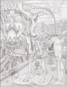 Clown Doctor tries to jack Dr. Applehead's Gig #2 #fineart #fantasy #surreal #pencildrawing #blackandwhie