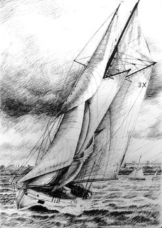 Storm approaching. Pen & Ink.               Glyn Overton.