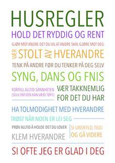 regler, hustavler, huspynt, pynt, dekor, stuen, kjærlighet, husregler,