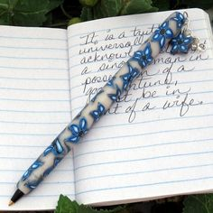 Blue Flower Polymer Clay Charm Pen with Glass Beads One of a Kind #114 | KaelMijoy - Housewares on ArtFire