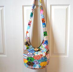 Vintage Patchwork Hobo Bag Sling Bag Pieced Quilt by 2LeftHandz, $37.00