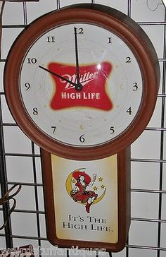 vintage Miller High Life beer wall clock sign wood champagne lady