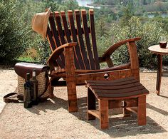 awesome wine barrel chair (actually barrel stave adirondack furniture) Adirondack Furniture, Adirondack Chairs, Outdoor Chairs, Outdoor Furniture, Deck Chairs, Outdoor Spaces, Furniture Ideas, Wine Barrel Chairs, Wine Barrels