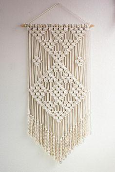 "Macrame Wall Hanging / ""Plot Points"" / Fiber Art / Bohemian Decor You are in … Macrame Wall Hanging Patterns, Large Macrame Wall Hanging, Macrame Patterns, Macrame Mirror, Macrame Curtain, Beaded Curtains, Macrame Cord, Macrame Bag, Macrame Design"