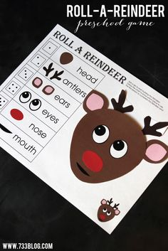 Roll-a-Reindeer Preschool Game Free Printable by @733blog