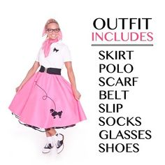 8 Pc 50s Adult POODLE SKIRT Outfit