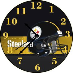 Pittsburgh Steelers Wall Clock Personalized Clocks, Pittsburgh Steelers, Wall, Design