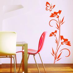 Lonely Butterfly Mural Wall Decal (17in x 39in )