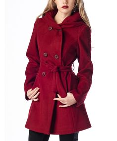 Loving this Bordeaux Hooded Cachet Coat on #zulily! #zulilyfinds