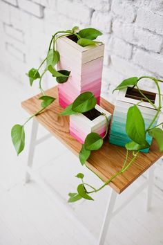 DIY: Ombre wooden vases for spring! | Art And Chic