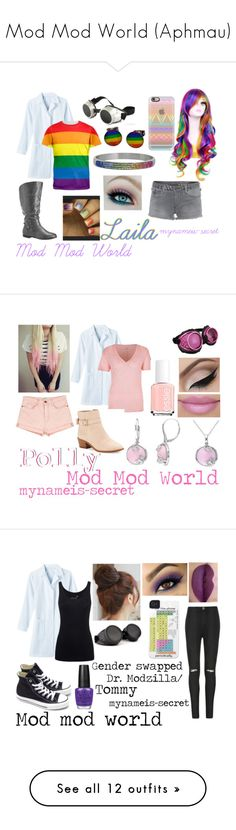 """""""Mod Mod World (Aphmau)"""" by mynameis-secret ❤ liked on Polyvore featuring True Religion, Avenue, Casetify, Current/Elliott, River Island, Elope, Kate Spade, Essie, Juvia and Pin Show"""