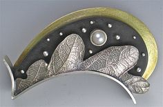 Landscape Leaf Brooch by Suzanne Linquist: Silver & Ebony Brooch available at www.artfulhome.com