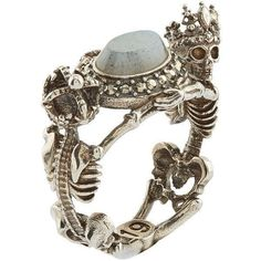 Alexander McQueen Skeleton King and Queen Labrodite Ring ($430) ❤ liked on Polyvore featuring jewelry, rings, dark ring, goth rings, gothic jewelry, skeleton jewelry and gothic rings