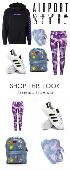 """""""K-Pop Airport Style"""" by bangtan-creator ❤ liked on Polyvore featuring USA Pro and adidas"""