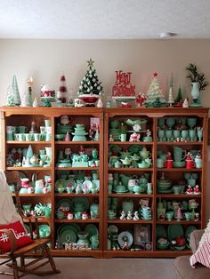 Jadeite dishes mixed with Christmas decorations