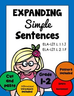 SIMPLE SENTENCES Expanding & Rearranging 18 pgs - Grade 1 & 2, Print N Go!***Please see the animated GIF to know what you'll be purchasing.CONTENTS:Types of sentences posters (4 posters)Adverb postersAdjective postersWorksheets:Expanding sentences with adjectives (6 pages)Expanding sentences with adverbs (6 pages)Recording sheetsRearranging sentences with compound subjects (4 pages)Extra adjective and adverb worksheets, cut and paste (2 pages)and more!Thank you so much for stopping b...