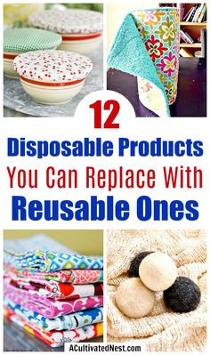 When you replace disposable products with reusable ones you save a lot of money, and do something good for the environment at the same time! Easy Sewing Projects, Sewing Hacks, Sewing Tutorials, Sewing Crafts, Diy Projects, Weaving Projects, Diy Crafts, Cloth Paper Towels, No Waste