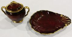 CARLTON WARE ROUGE ROYALE TRINKET POT AND DRESSING TABLE SHELL DISH