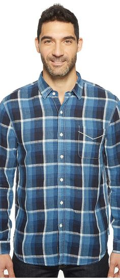 True Grit Genuine Linen Long Sleeve One-Pocket Shirt Big Plaids (Indigo) Men's Clothing - True Grit, Genuine Linen Long Sleeve One-Pocket Shirt Big Plaids, 75M60SI8-405, Apparel Top General, Top, Top, Apparel, Clothes Clothing, Gift, - Street Fashion And Style Ideas