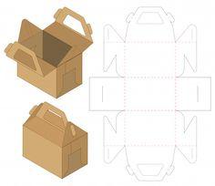Similar Images, Stock Photos & Vectors of Box packaging die cut template design. mock-up - 1296885919 Food Box Packaging, Food Packaging Design, Bag Packaging, Paper Box Template, Origami Templates, Box Templates, Bottle Box, Logo Restaurant, Diy Box