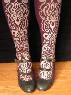Printed Tights Small/Medium Art Nouveau Pattern Purple and Silver. $21.00, via Etsy.