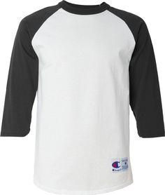 Champion Men's Raglan Baseball T-Shirt (White/Black) (Medium)