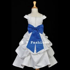 WHITE ROYAL BLUE WEDDING FLOWER GIRL DRESS SPAGHETTI STRAP. Keywords: #weddings #jevelweddingplanning Follow Us: www.jevelweddingplanning.com  www.facebook.com/jevelweddingplanning/