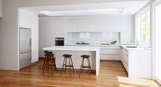 Modern kitchen in white with Danish stools by Erik Buch