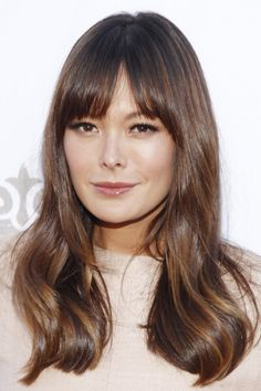 Pin for Later: Fringespiration! 50 Celebrity Fringe Hairstyles to Inspire Your New Cut Lindsay Price A new fringe will often part on its own accord, but this is no bad thing. Lindsay shows how a slight part can often look completely deliberate!