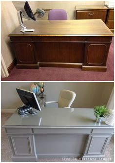 Updating an old office desk with new trim and chalk paint - what a difference these easy changes make! #OfficeDecoratingIdeas
