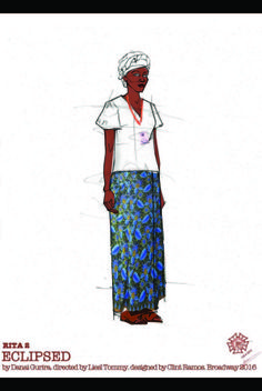 A costume sketch for Eclipsed by 2016 Tony-nominated designer Clint Ramos. Best Costume Design, Tony Award Winners, Scenic Design, First Night, Photo Galleries, Awards, Wings, Designers, Sketches