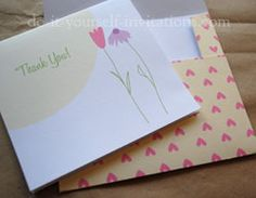 6 printable thank you cards and matching printable envelopes!