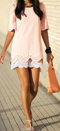 pink laser cut top + white lace shorts
