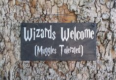 Wizards Welcome Muggles Tolerated Sign, Harry Potter Sign, Home Decor, Nursery…