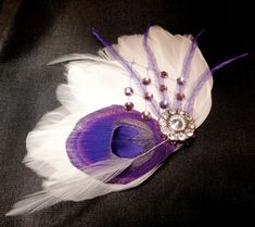 IVY White and Purple Peacock Feather and Crystal Veil Hair Clip, Feather Fascinator, Bridal Hair Piece