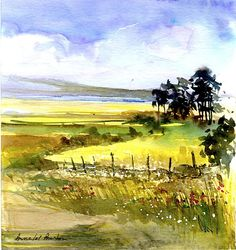 Original Watercolour Painting -A View towards the Sea- by Annabel Burton