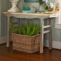 Entry way by decorology, via Flickr decor, plant, small tables, wicker baskets, side tables, entry tables, vintage tables, entryway, console tables